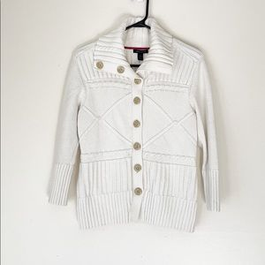 TOMMY HILFIGER WHITE CABLE KNIT CARDIGAN